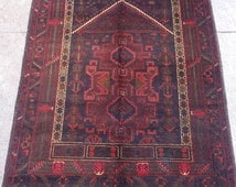 4.8 x 3.1 Feet Balochi Prayer Rug Hand Knotted Prayer Rug, Home decoration, Carpet,  Article J119