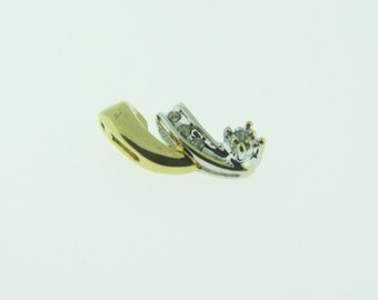 Vintage 10 K gold two tone and diamond free form pendant