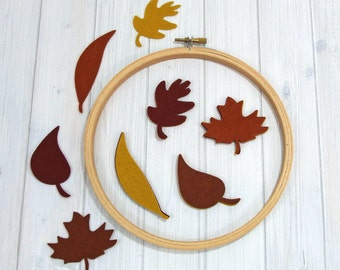 Felt Leaves, Set of 16 - Autumn Leaves - Wool Blend Felt - Die Cut Shapes - Felt Cutouts