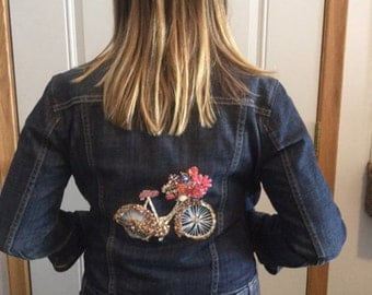 Beaded Jean Jacket-Custom Hand Beaded-Size Small - Have a jacket custom beaded just for you!