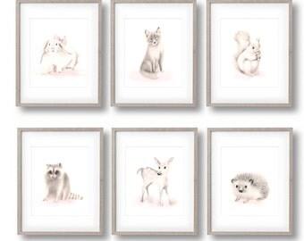 Woodland Nursery Art, Set of 6 Prints, Pencil Drawing, Sepia, Pink, Fox, Hedgehog, Bunny, Raccoon, Deer, Squirrel, Animal Decor, Forest