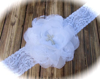 White Headband, Lace Headband, Baby Headband, Cross Headband, Infant Headband, Baptism Headband, Baby Cross Headband, Christening Headband