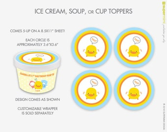 Cute Yellow Chick Piyo Piyo Ice Cream Soup Cup Toppers / Instant Printable Download