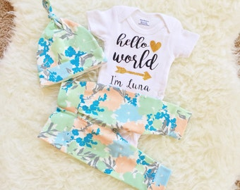 Going Home Outfit, Hello World, Newborn Set, Personalized Bodysuit, Going Home Outfit Baby Girl, Newborn Going Home Outfit Girl