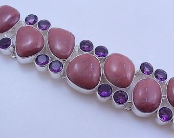 free shipping F-231  Stunning Red Jasper-Amethyst .925 Silver Handmade Jewelry Bracelet 73 Gr.