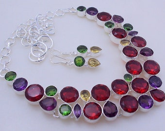 free shipping F-273 Garnet-Citrine-Amethyst-Peridot .925 Silver Jewelry Necklace 85 Gr.