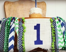 BLUE AND GREEN Birthday High Chair Highchair Banner Party Photo Prop Sports Backdrop Cake Smash Nautical Football One First Little Man Guy