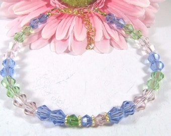 Pastel (Pink, Blue and Apple Green) Swarovski Crystal Bracelet