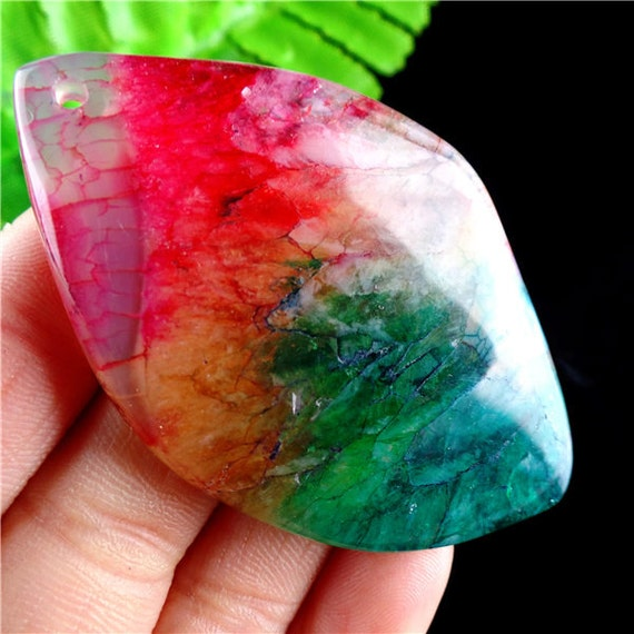 Beautifully Unique Rainbow Druzy Geode Agate Teardrop Pendant