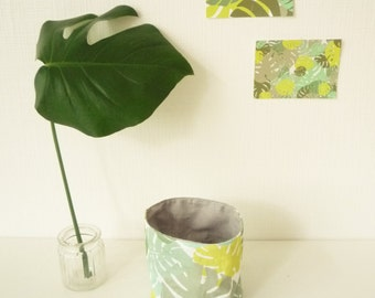 Empty Pocket Tropical - Monstera - Leaf Philodendron - Mint and grey