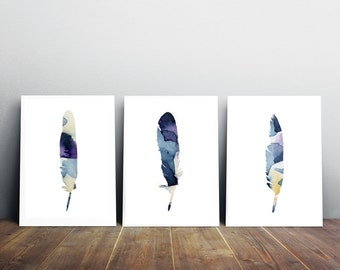 Feather watercolor  - feather decor - feather art- feather painting - 3 prints - indigo feather illustration - purple blue wall art decor