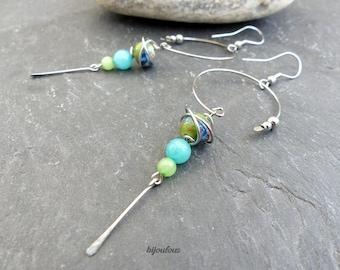 Boucles d'oreilles vert bleu, céramique, jade teinté et acier inoxydable (BOE)