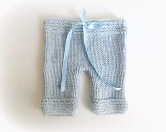 Knitting   Sky blue pants for baby   Size 3 months