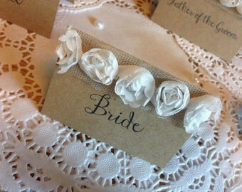 White Rose Rustic Wedding Table Place Cards Recycled Kraft Card Vintage Shabby Chic Name Places chiffon rose trim place cards
