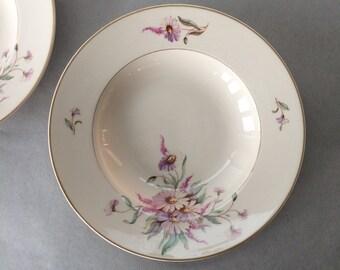 Vintage Arabia Finland Rimmed Soup Bowls - set of 2 | ivory porcelain, pink & white daisies, floral soup bowl, arabia finland bowls