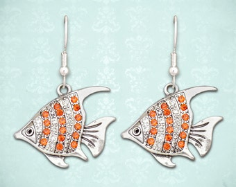 Orange Fish Earrings - 50635