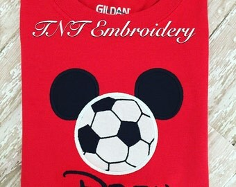 Micky Mouse Soccer applique shirt