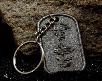 CUSTOM Steel Dog Tag Sound Wave KEYCHAIN with EMBOSSED Wave Form | Personalized Jewelry #MadeFromSound
