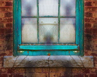 Window Brick Green Fence Original Photograph