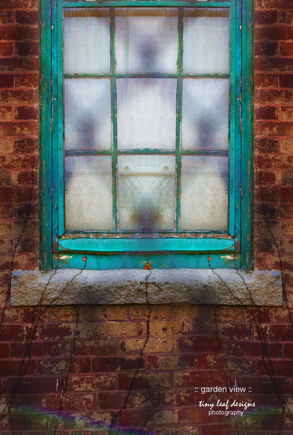 Window Brick Green Fence Fine Art Photograph 5x7 8x10 11x14