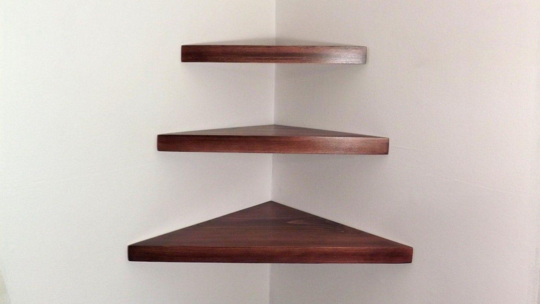 3 piece set floating corner shelves with black cherry. Black Bedroom Furniture Sets. Home Design Ideas