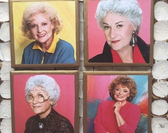 COASTERS!!!! Golden Girls coasters! I heart the Golden Girls set of coasters with gold trim