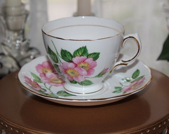 Vintage Royal Vale Bone China Tea Cup, Made in England, Wild Rose Patterned Teacup, Pink Floral Patterned Cup and Saucer