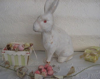 Antique Pressed Paper Rabbit Candy Container