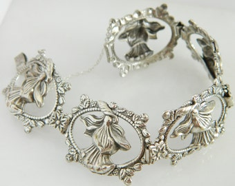 Wonderful Vintage Sterling Silver Floral Link Bracelet