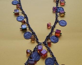 Vintage necklace metal necklace