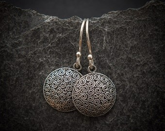 Sterling Silver Spiral Circle Drop Earrings