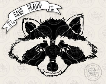 Raccoon SVG Cut File, Woodland Animal Cutting File for Silhouette SVG, Cricut Download, Cute Raccoon Graphic Overlay Clipart Forrest Animal