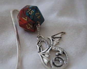 Marbled Teal & Copper D20 and Dragon Bookmark