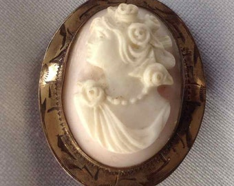 Vintage Oval Cameo Brooch in Decorated Pinchbeck Metal Setting - 1920's to 1930's