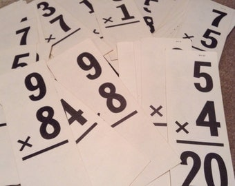 Vintage Flash Cards - Over 200 Multiplication Flash Cards