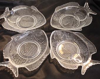 Four Beautiful Glass Japanese Fish Plates