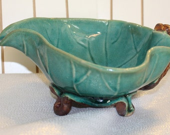 Vintage Green Crackled Glaze Bowl Leaf and Stems