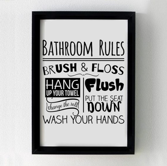 Home Decor Vinyl Wall Art Cricut ~ Bathroom rules svg cutting file for cricut silhouette