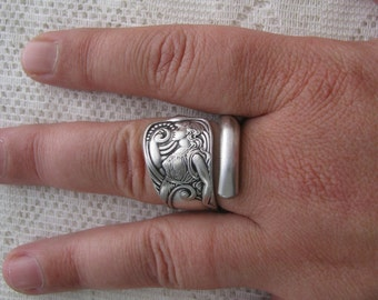 "Spoon Ring, Spoon Jewelry, Antique Silver Plate Spoon, ""Siren"" by 1847 Rogers Bros., 1891, Rare and Highly Collectible,"