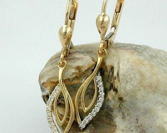 Earrings in the form of drops, with many zirconias, 9K GOLD