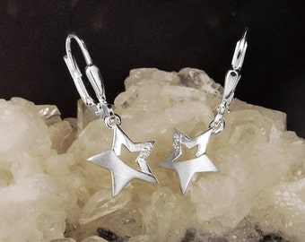 Filigree stars earrings with cubic zirconia, silver 925