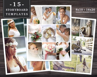 Storyboard Templates Set 002 for Photoshop - 8x10 + 16x20 - 15 Templates with Normal & Rounded Corners - Collage - Photographer Template
