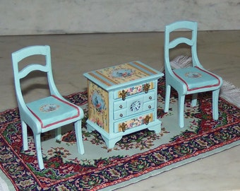 Pair of Painted Chairs for 1:12th Dollhouse.  Painted Blue. Country French.  Wood.