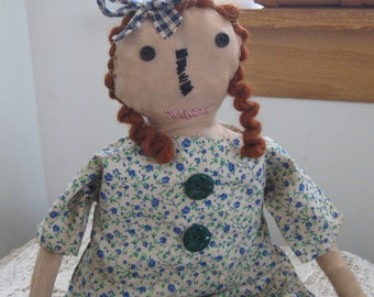 Primitives-Primitive Dolls-Primitive Rag Dolls-OOAK Primitive Doll Cindy Lou