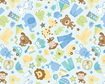 Snips & Snails Fabric in Blue