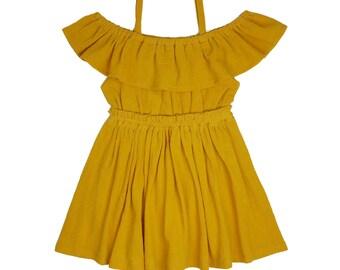 Women's (XS-XXXL) Mustard Yellow Off The Shoulder Ruffle Dress. Mommy and Me Dress. Daughter. Fall, Spring, Summer
