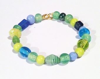 Green Grass, Green glass bracelet