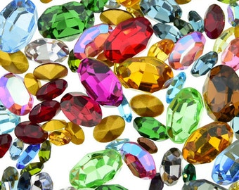 Swarovski Rhinestone Ovals Mix Different Sizes and Colors 50 Pieces Lot Vintage Repair Design