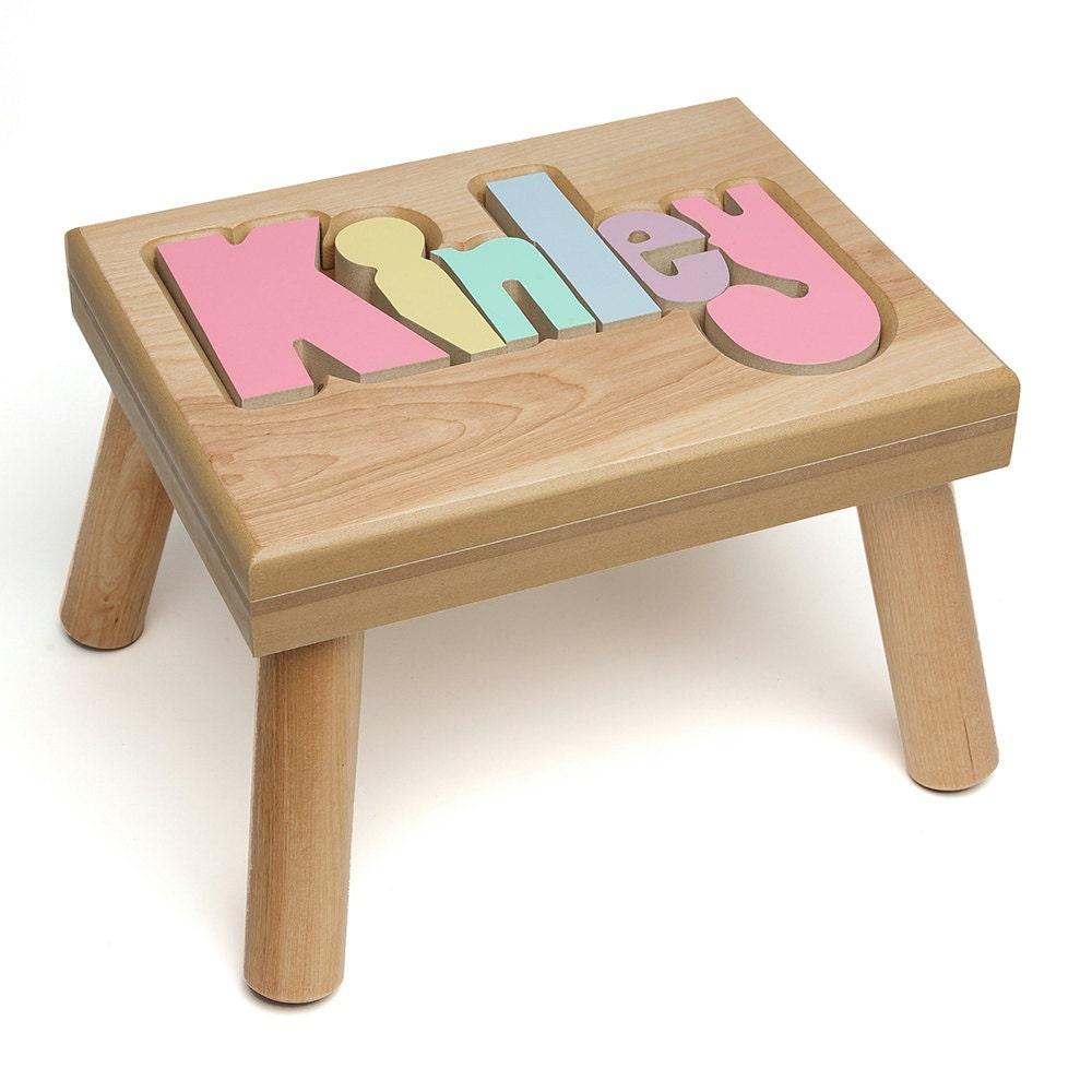 Name puzzle stool custom baby gift