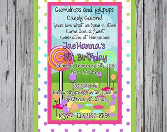 Candy Land Birthday Invitation Polka Dots with Lollipops
